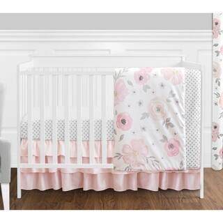 Sweet Jojo Designs Pink Grey White Shabby Chic Watercolor Fl Collection Baby 4