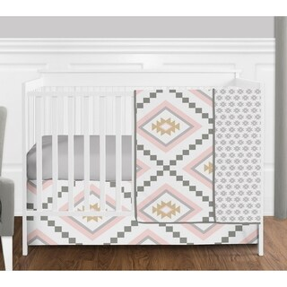 Sweet Jojo Designs Blush Pink and Grey Boho and Tribal Aztec Collection Baby Girl 4-piece Bumperless Crib Bedding Set