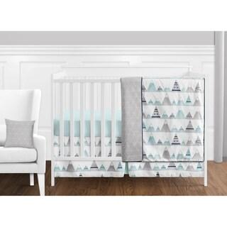 Sweet Jojo Designs Navy Blue Aqua & Grey Aztec Mountains Collection Baby Boy or Girl Unisex 11-piece Bumperless Crib Bedding Set