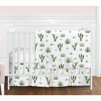 Sweet Jojo Designs Pink and Green Boho Watercolor Cactus Floral Collection Girl 4-piece Bumperless Crib Bedding Set
