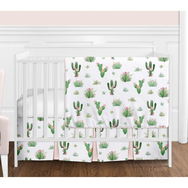84688047cd7ae Sweet Jojo Designs Pink and Green Boho Watercolor Cactus Floral Collection  Girl 4-piece Bumperless Crib Bedding Set