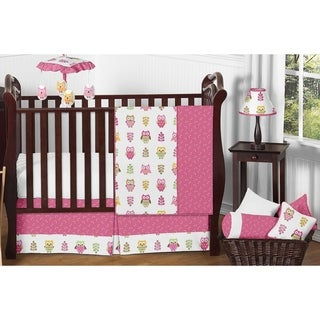 Sweet Jojo Designs Pink Happy Owl 11-piece Bumperless Crib Bedding Set