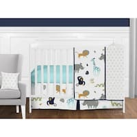 Sweet Jojo Designs Mod Jungle Animal Collection 11-piece Bumperless Crib Bedding Set