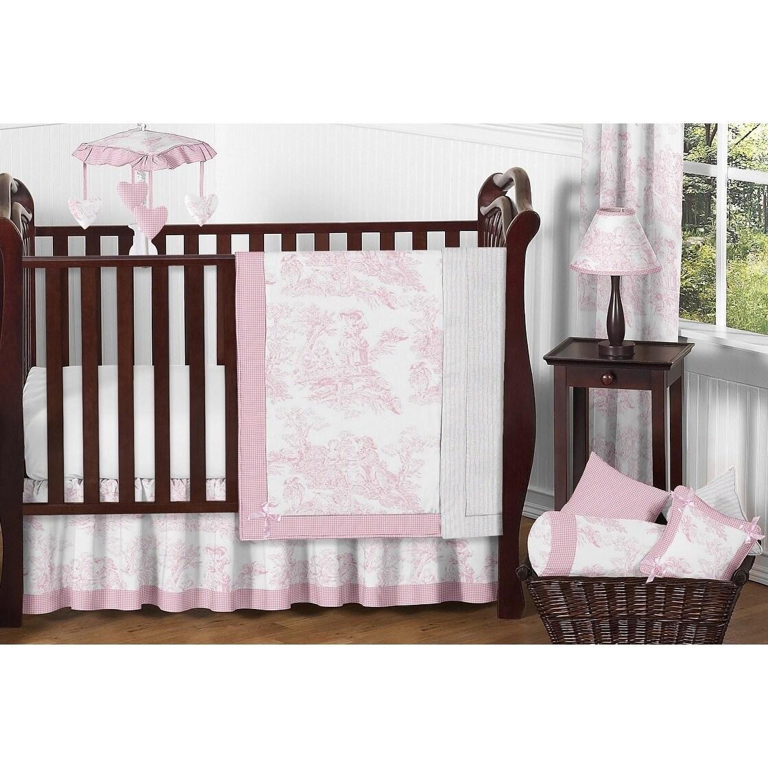 Sweet Jojo Designs Pink Toile 11 Piece Bumperless Crib Bedding Set