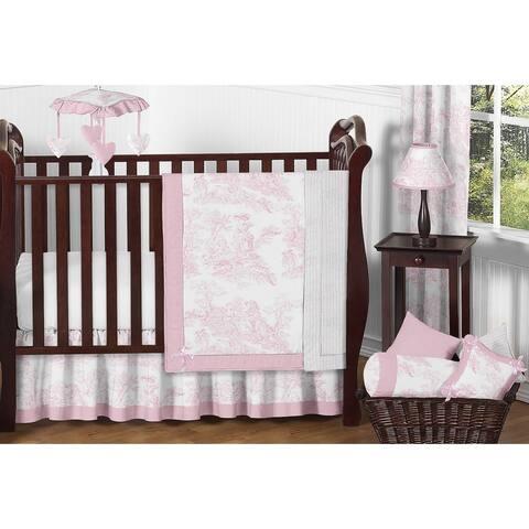 Sweet Jojo Designs Pink Toile 11-piece Bumperless Crib Bedding Set