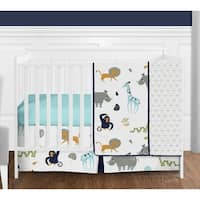 Sweet Jojo Designs Mod Jungle Animal Collection 4-piece Bumperless Crib Bedding Set