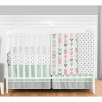 Sweet Jojo Designs Coral and Mint Mod Arrow Collection 4-piece Bumperless Crib Bedding Set
