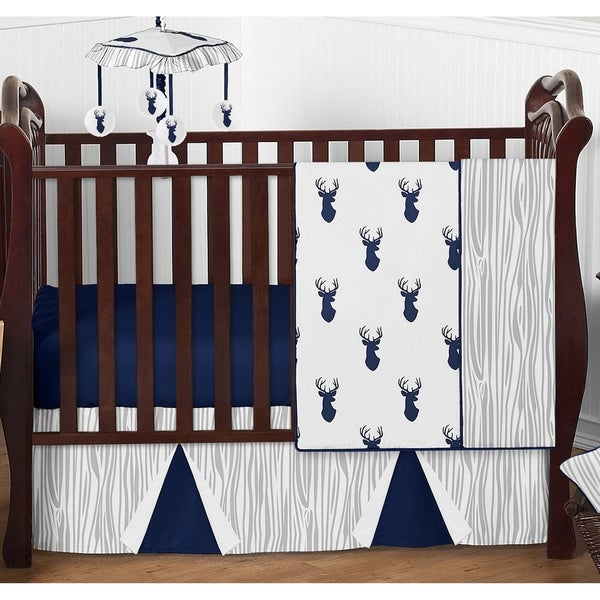 Sweet Jojo Designs 4-piece Boy Bumperless Crib Bedding Set for the Navy and White Woodland Deer Stag Collection