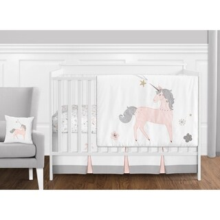 Sweet Jojo Designs Pink, Grey and Gold Unicorn Collection Baby Girl 11-piece Bumperless Crib Bedding Set