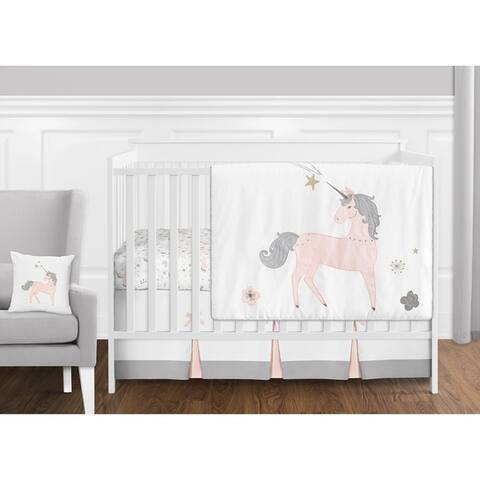 Sweet Jojo Designs Pink, Grey and Gold Unicorn Collection Baby Girl 11-piece Bumperless Crib Bedding Set