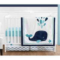 Sweet Jojo Designs Whale Collection 4-piece Bumperless Crib Bedding Set