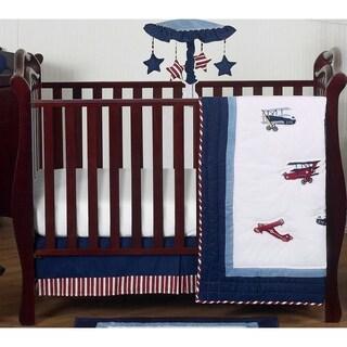Sweet Jojo Designs Red, White, and Blue Aviator Plane 4-piece Bumperless Crib Bedding Set
