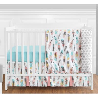 Sweet Jojo Designs Turquoise and Coral Feather Collection 4-piece Bumperless Crib Bedding Set