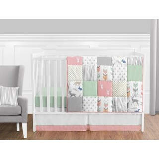 Sweet Jojo Designs Coral and Mint Woodsy Collection 11-piece Bumperless Crib Bedding Set