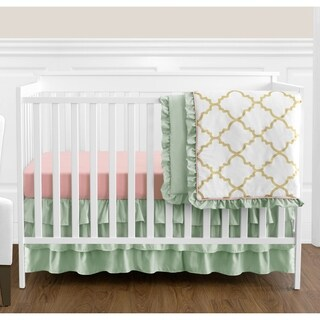 Sweet Jojo Designs Mint and Coral Ava Collection 4-piece Bumperless Crib Bedding Set