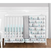 Sweet Jojo Designs Navy Blue, Aqua & Grey Aztec Mountains Collection Baby Boy or Girl Unisex 4-piece Bumperless Crib Bedding Set