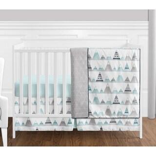 Sweet Jojo Designs Navy Blue, Aqua & Grey Aztec Mountains Collection Baby Boy or Girl Unisex 4-piece Bumperless Crib Bedding Set