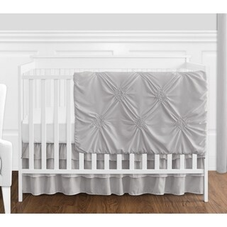 Sweet Jojo Designs Grey Shabby Chic Harper Collection Girl 4-piece Bumperless Crib Bedding Set