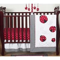 Sweet Jojo Designs Red and Black Little Ladybug 4-piece Bumperless Crib Bedding Set