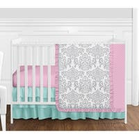 Sweet Jojo Designs Pink and Turquiose Skylar Damask Collection 4-piece Bumperless Crib Bedding Set