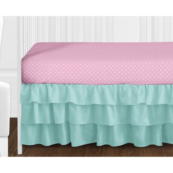 Sweet Jojo Designs Pink and Turquiose Skylar Damask Collection 4-piece Bumperless Crib Bedding Set