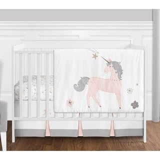 Sweet Jojo Designs Pink, Grey and Gold Unicorn Collection Baby Girl 4-piece Bumperless Crib Bedding Set