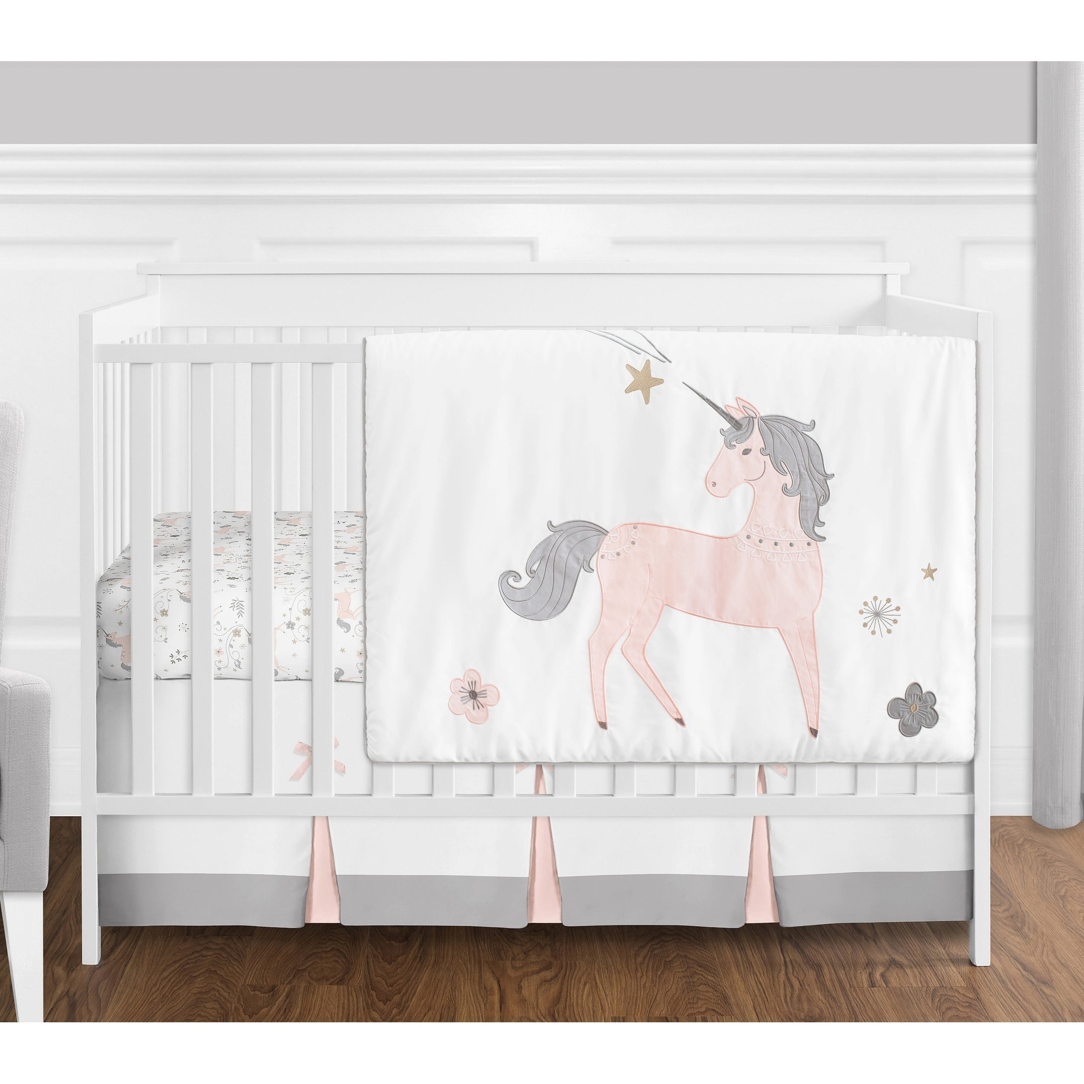 Sweet Jojo Designs Pink Grey And Gold Unicorn Collection Baby Girl 4 Piece Bumperless Crib Bedding Set Overstock 20676758