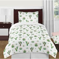 Sweet Jojo Designs Pink and Green Boho Watercolor Cactus Floral Collection Girl 4-piece Twin-size Comforter Set