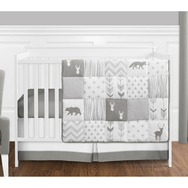 Sweet Jojo Designs Grey and White Woodsy Collection 4-piece Bumperless Crib Bedding Set