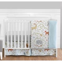 Sweet Jojo Designs Woodland Animal Toile Collection 4-piece Bumperless Crib Bedding Set