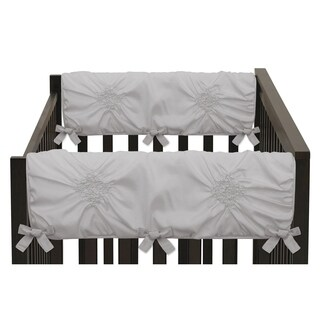 Sweet Jojo Designs Solid Color Grey Shabby Chic Harper Collection Side Crib Rail Guard Covers (Set of 2)