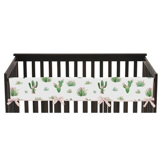Sweet Jojo Designs Pink and Green Cactus Floral Boho Watercolor Collection Long Crib Rail Guard Cover