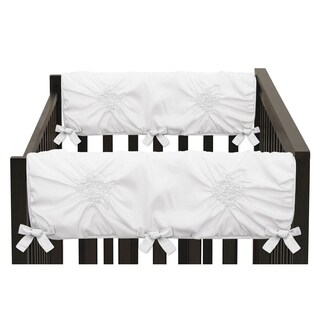 Sweet Jojo Designs Solid Color White Shabby Chic Harper Collection Side Crib Rail Guard Covers (Set of 2)