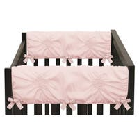 Sweet Jojo Designs Solid Color Blush Pink Shabby Chic Harper Collection Side Crib Rail Guard Covers (Set of 2)