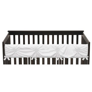 Sweet Jojo Designs Solid Color White Shabby Chic Harper Collection Long Crib Rail Guard Cover