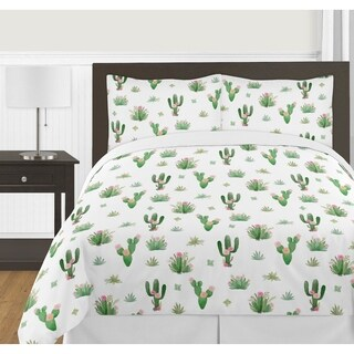 Sweet Jojo Designs Pink and Green Boho Watercolor Cactus Floral Collection Girl 3-piece Full / Queen-size Comforter Set