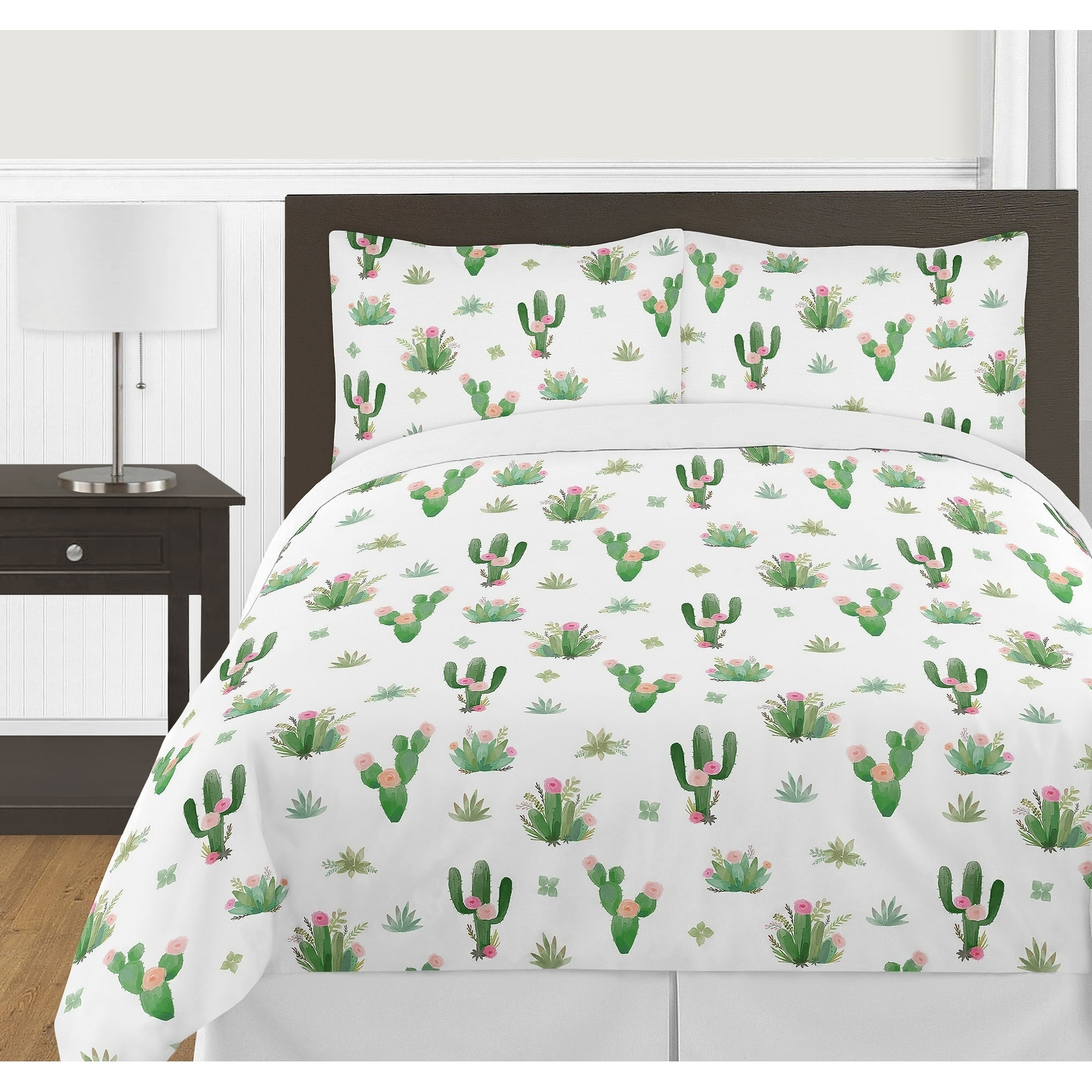 Shop Sweet Jojo Designs Pink and Green Boho Watercolor Cactus