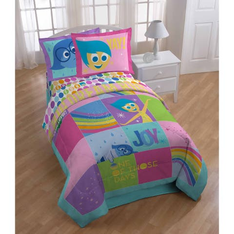 Disney Inside Out Rainbow Patchwork Reversible Twin Reversible Comforter