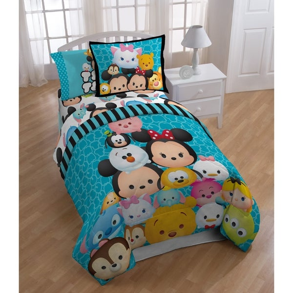 Disney Tsum Tsum Teal Stacks Twin 4-piece Bed In A Bag Set