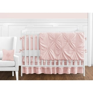 Sweet Jojo Designs Solid Color Blush Pink Shabby Chic Harper Collection Girl 9-piece Crib Bedding Set