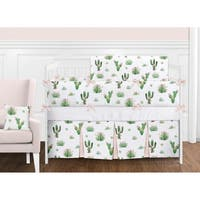 Sweet Jojo Designs Pink and Green Boho Watercolor Cactus Floral Collection Girl 9-piece Crib Bedding Set