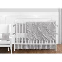 Sweet Jojo Designs Solid Color Grey Shabby Chic Harper Collection Girl 9-piece Crib Bedding Set