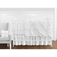 Sweet Jojo Designs Solid Color White Shabby Chic Harper Collection Girl 9-piece Crib Bedding Set