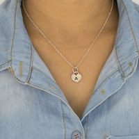 """TwoBirch Sterling Silver Personalized Hand Stamped Heart Initial Pendant with 18"""" Chain"""