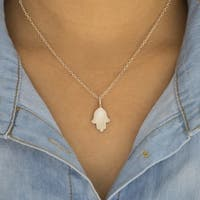 """TwoBirch Sterling Silver Hamsa Hand Stamped Initial Pendant with 18"""" Chain"""