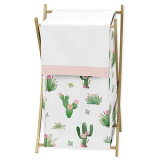 Sweet Jojo Designs Pink and Green Boho Watercolor Cactus Floral Collection Laundry Hamper