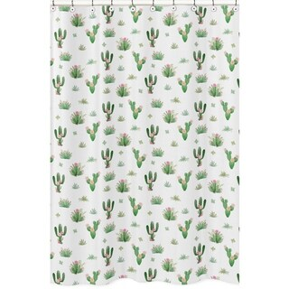 Sweet Jojo Designs Pink Green Boho Watercolor Cactus Floral Collection Bathroom Fabric Bath Shower Curtain