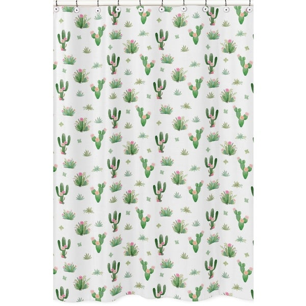Sweet Jojo Designs Pink Green Boho Watercolor Cactus Floral Collection Bathroom Fabric Bath Shower Curtain