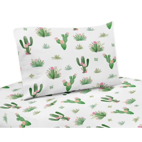 Sweet Jojo Designs Pink and Green Boho Watercolor Cactus Floral Collection 3-piece Twin Sheet Set