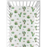 Sweet Jojo Designs Pink Green Boho Watercolor Cactus Floral Collection Fitted Crib Sheet